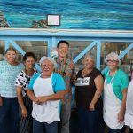 Lt. Gov. Chin with Kohala Complex Area Cafeteria Manager Priscilla Galan and her staff
